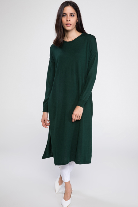 Defacto Yeşil Düşük Kol Detaylı Yırtmaçlı Triko Tunik