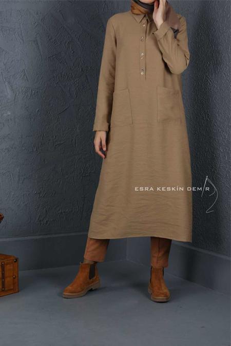 Esra Keskin Demir Camel Cep Detaylı Tunik
