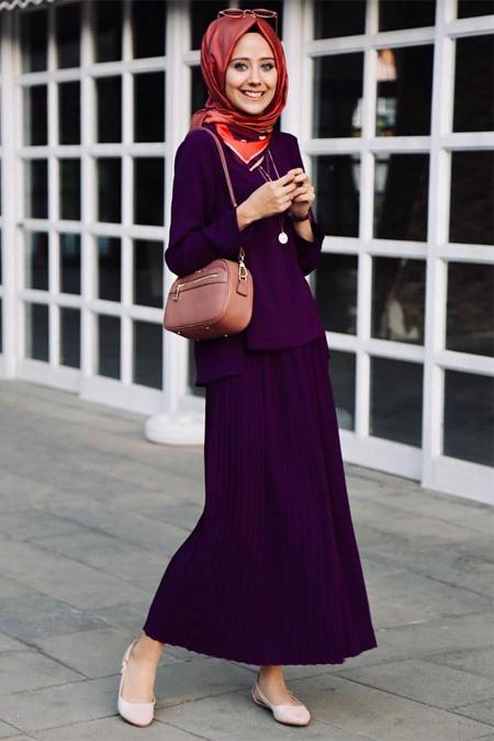 Esra Keskin Demir Mürdüm Piliseli Etek ve Bluz Takım