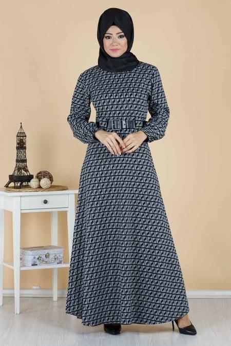 FF Desenli Kemerli Tesettür Elbise