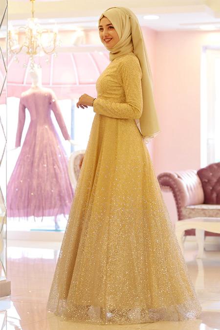 Gamze Özkul Gold Işıltılı Degrade Abiye Elbise