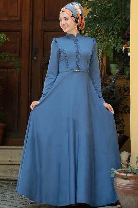 Gamze Özkul Mavi Kemerli Elbise