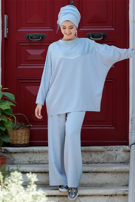 Gamze Özkul Mavi Spor Tunik & Pantolon İkili Takım