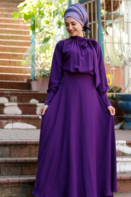 Gamze Özkul Mor Fularlı Elbise