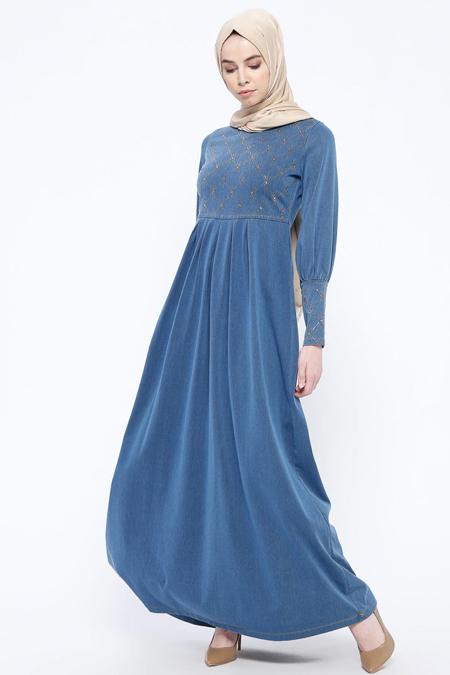 Ginezza İndigo Drop Baskılı Kot Elbise