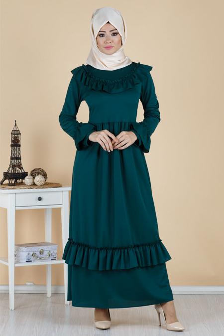 Haki Fırfırlı Tesettür Elbise