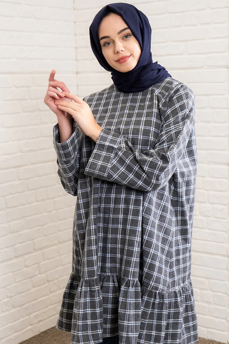 İnşirah Gri Ekose Desenli Tunik