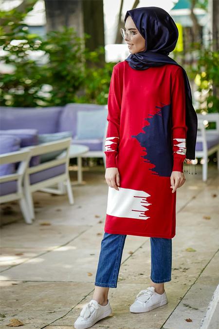 İnşirah Kırmızı Desenli Triko Tunik