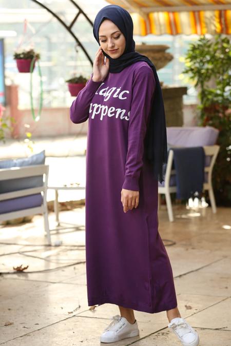 İnşirah Mor Triko Elbise