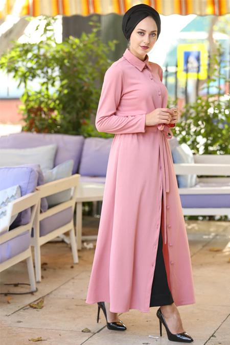 İnşirah Pudra Boydan Düğmeli Tunik Elbise