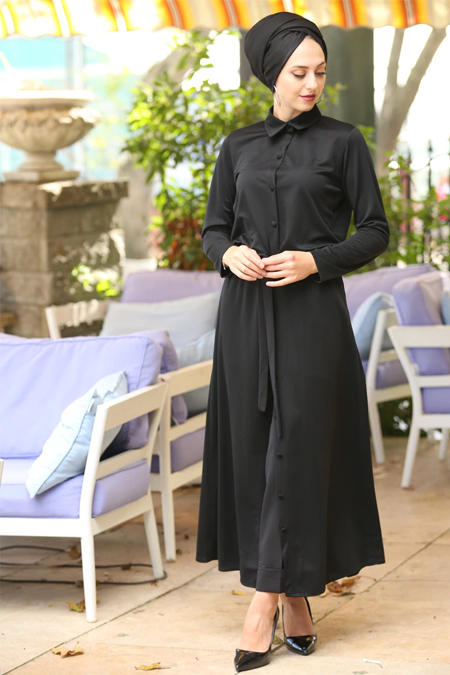 İnşirah Siyah Boydan Düğmeli Tunik Elbise