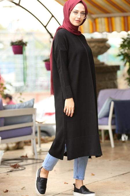 İnşirah Siyah Triko Tunik