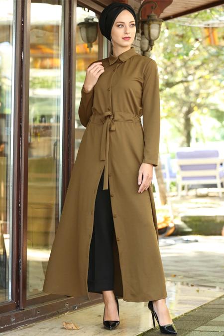 İnşirah Taba Boydan Düğmeli Tunik Elbise