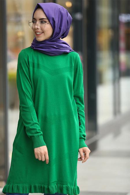 İnşirah Yeşil Fırfırlı Triko Tunik