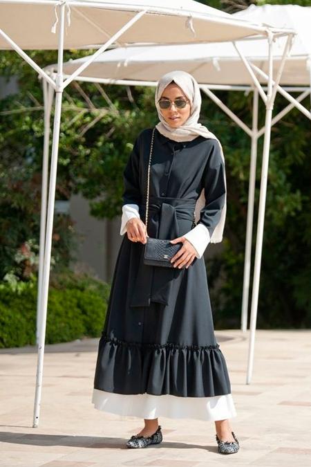 Lavinia Couture Siyah Fırfırlı Elbise