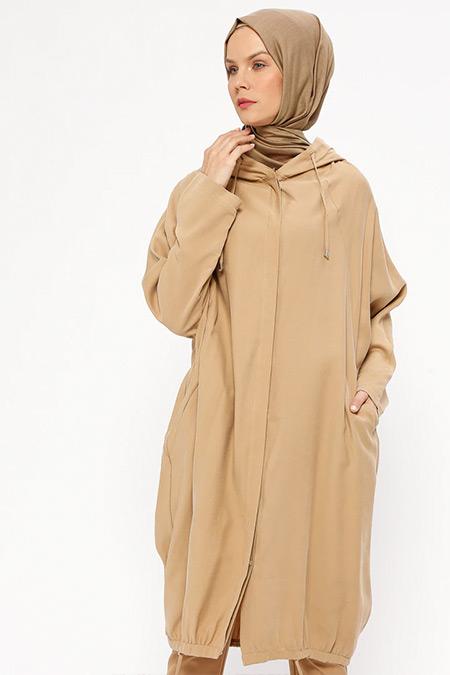 Loreen By Puane Camel Gizli Düğmeli Kap
