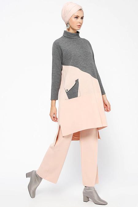 Loreen By Puane Gri Pudra Triko Tunik&Pantolon İkili Takım