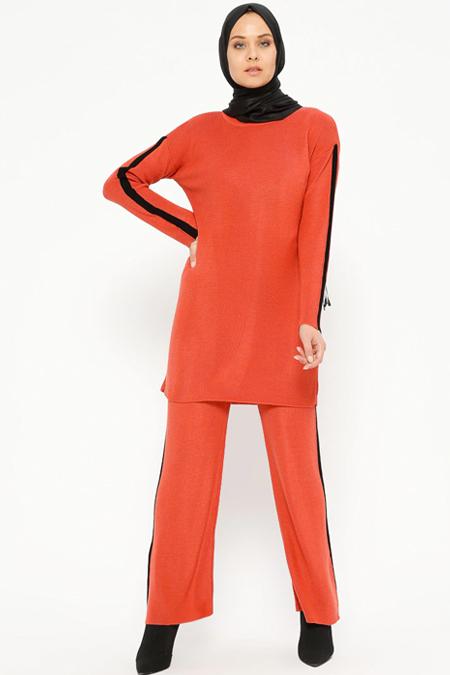 Loreen By Puane Kiremit Triko Tunik & Pantolon İkili Takım