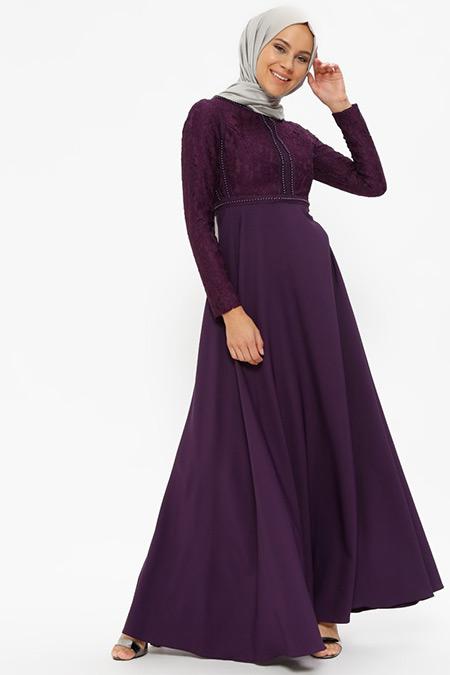 Loreen By Puane Mor Dantel Detaylı Elbise