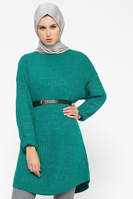 Loreen By Puane Yeşil Simli Triko Tunik