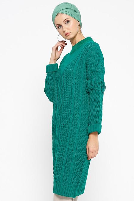 Loreen By Puane Yeşil Triko Tunik