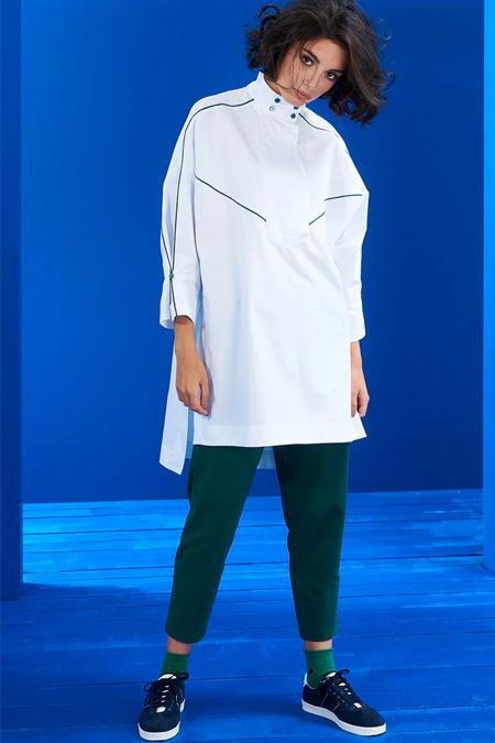 Mevra Ekru Yeşil Biyeli Tunik