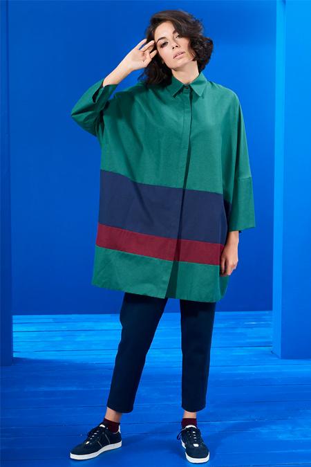 Mevra Yeşil Bordo Lacivert Blok Renkli Tunik