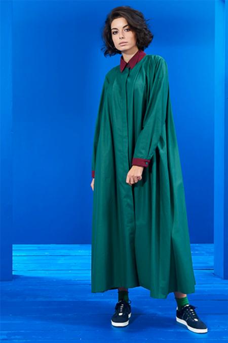 Mevra Yeşil Lacivert Yaka Detay Elbise