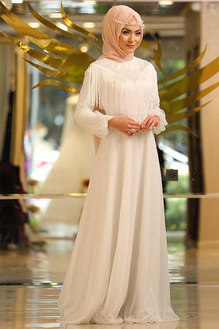 Minel Ask Ekru Puskullu Abiye Elbise Online Satis Indirimli Satin Al