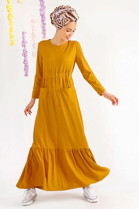 MisCats Hardal Cep Detaylı Elbise