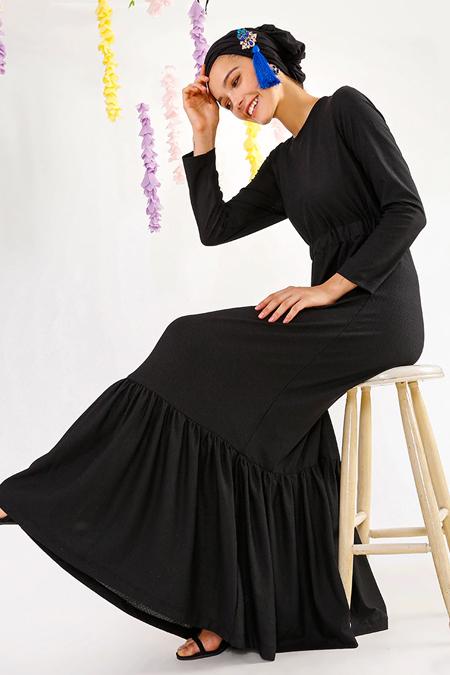 MisCats Siyah Cep Detaylı Elbise