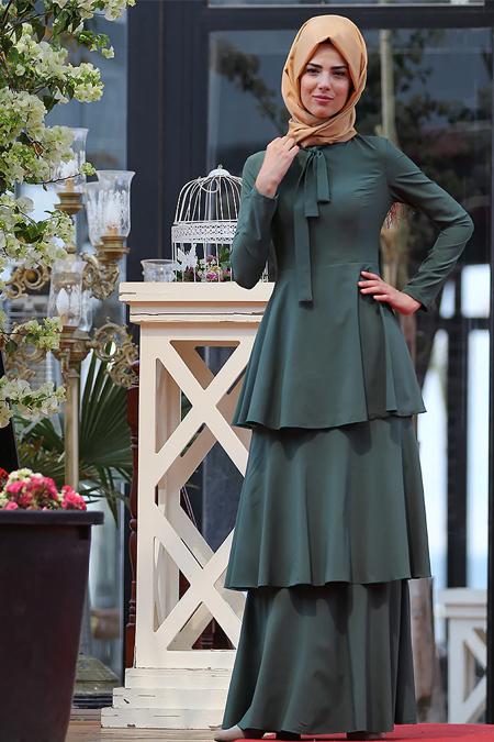 Nurkombin Haki Katlı Elbise