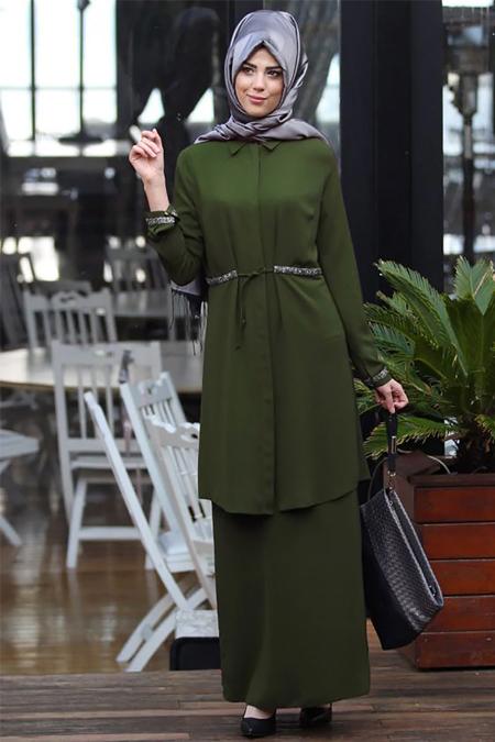 Nurkombin Haki Tunik & Etek İkili Takım