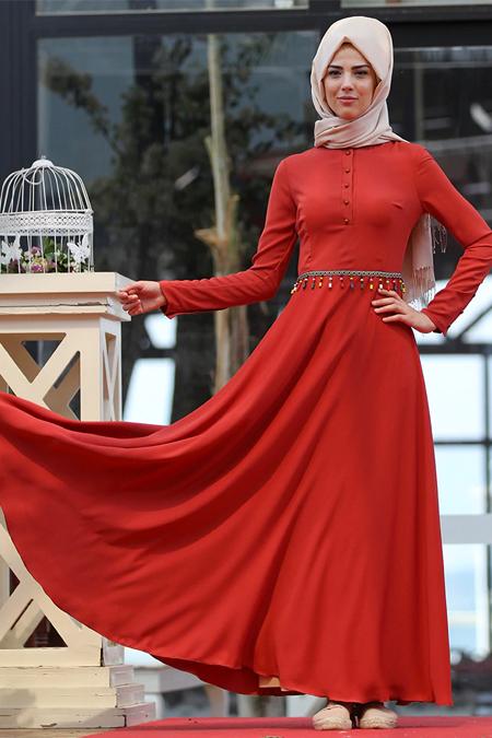 Nurkombin Kiremit Boncuklu Elbise