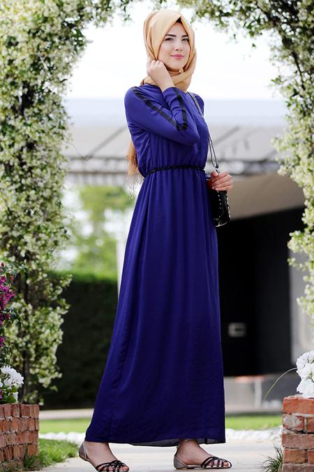 Nurkombin Mavi Şeritli Elbise