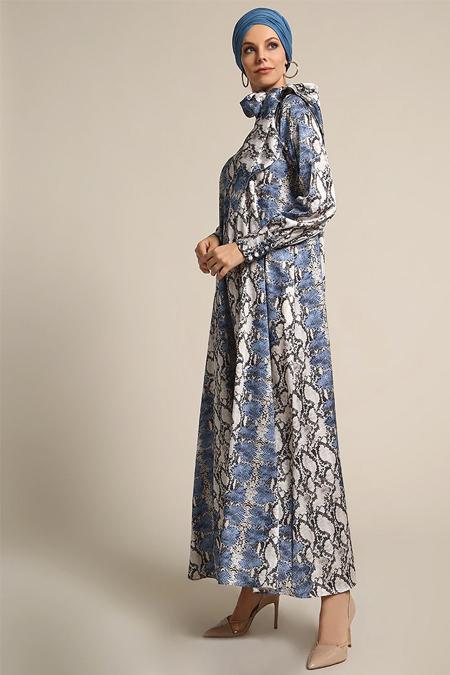 Refka Bebe Mavi Desenli Elbise
