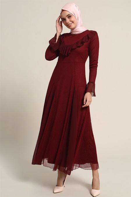 Refka Bordo Volan Detaylı Elbise
