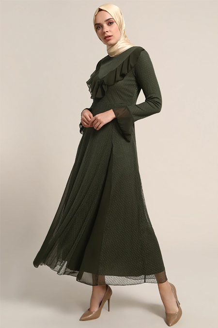 Refka Haki Volan Detaylı Elbise