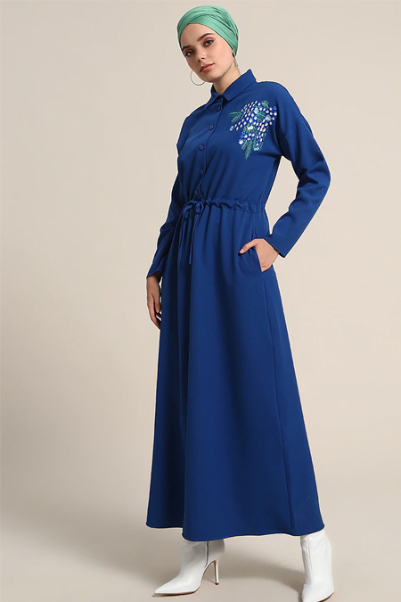Refka İndigo Nakış Detaylı Elbise