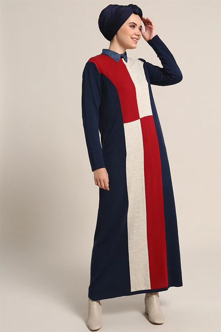 Refka Lacivert Kırmızı Triko Elbise