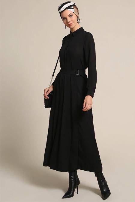 Refka Siyah Kemer Detaylı Elbise