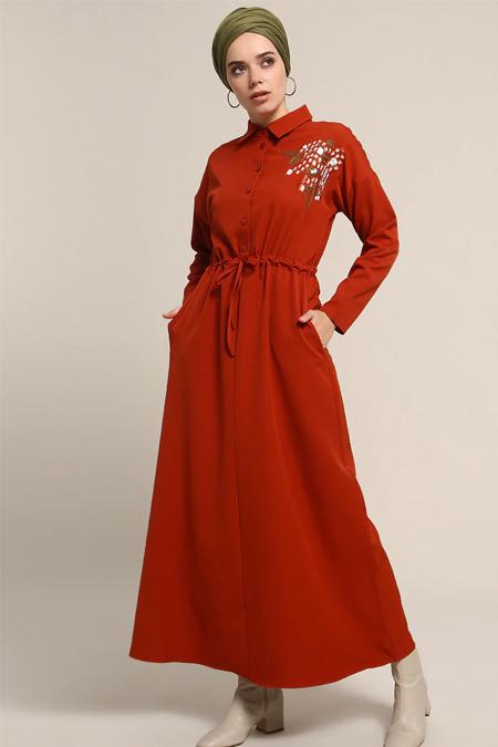 Refka Turuncu Nakış Detaylı Elbise