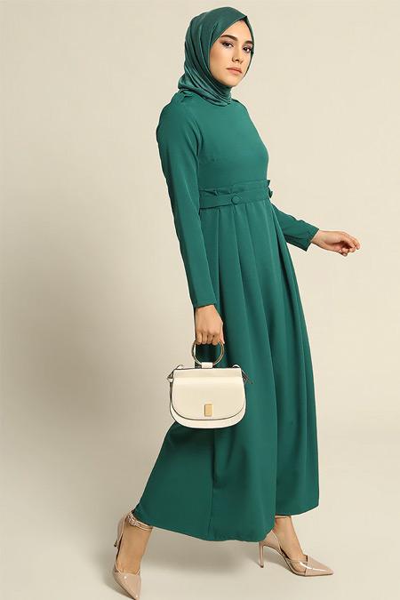 Refka Yeşil Pile Detaylı Elbise