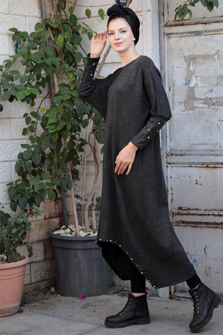 Selma Sarı Design Antrasit İncili Salaş Uzun Tunik