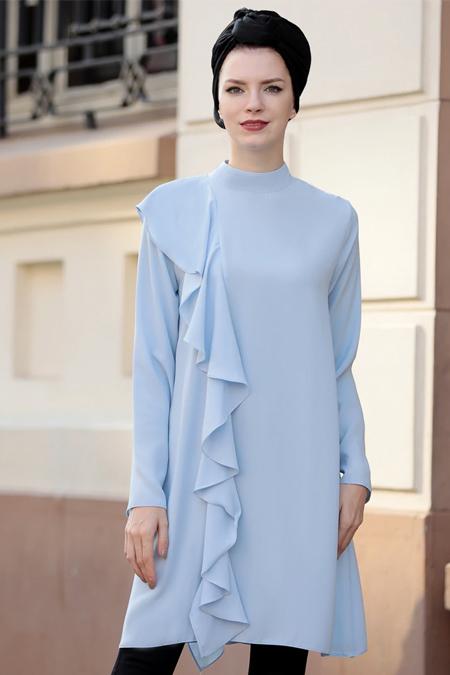 Selma Sarı Design Bebe Mavi Salaş Yanı Fırfırlı Tunik