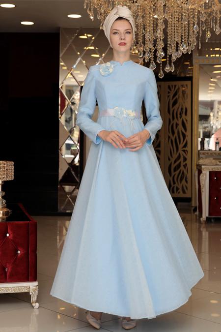 Selma Sarı Design Bebe Mavisi Kadife Detaylı Kapüşonlu Abiye Elbise