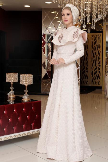 Selma Sarı Design Ekru Farba Abiye Elbise