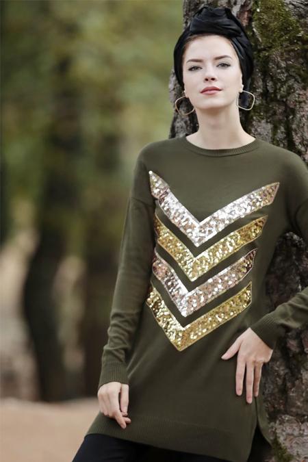 Selma Sarı Design Haki Payet İşlemeli Triko Tunik