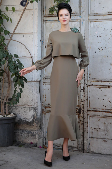 Selma Sarı Design Haki Viole Elbise