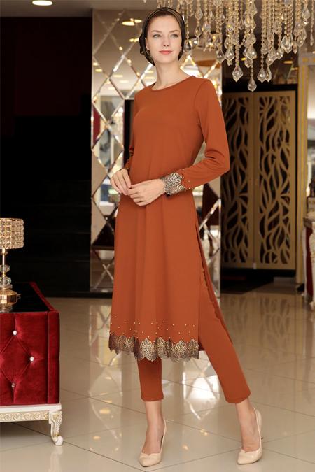 Selma Sarı Design Kiremit Şallı Tunik & Pantolon İkili Takım